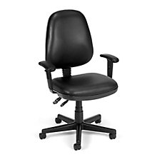 Antimicrobial Vinyl Computer Desk Chair with Adjustable Arms, 8827786