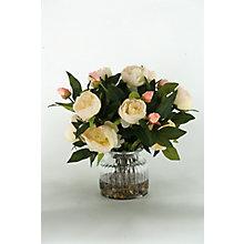 "15""H- Peonies In Glass Vase, 8822787"