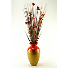 """56""""H- Brown Ting With Red Blossoms, 8822800"""