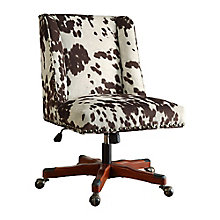 Draper Cow Print Armless Chair with Wood Base, 8805175