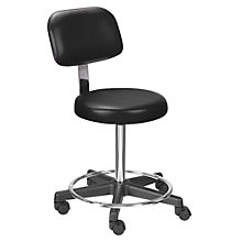 Encompass Threaded Stem Stool with Back and Foot Rest in Vinyl, LFG-10927
