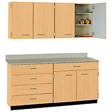 Five Drawer Six Door Wall And Base Cabinet Set 60 W Sti