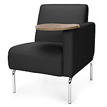 Triumph Left Arm Guest Chair with Chrome Legs and Tablet in Polyurethane, 8814102