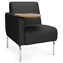 Triumph Right Arm Guest Chair with Chrome Legs and Tablet in Polyurethane, 8814104