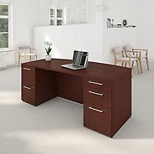 Bow Front 2 Pedestal Desk 72Wx36D , 8825683