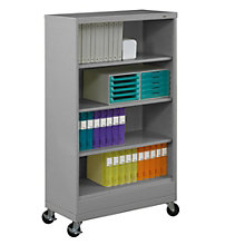 "Four Shelf Mobile Steel Bookcase - 62""H, TES-BC18-52M"