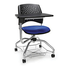 Foresee Plastic Back Tablet Arm Student Chair with Under-Seat Basket, 8825761