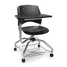 Foresee Plastic Tablet Arm Student Chair with Under-Seat Basket, 8825762