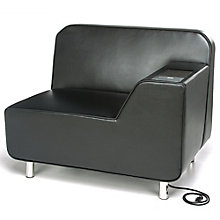 Left Arm Polyurethane Lounge Chair with Inlay Table and Electrical Outlet, 8814097