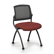 Armless Mesh Back Fabric Nesting Chair with Dual-Purpose Casters, 8808160