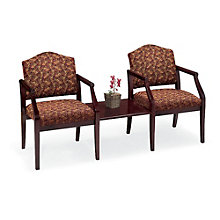 Ashford Heavy Duty Vinyl Guest Chair with Connecting Center Table Set, LES-10195