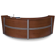 "Marque Curved Double Reception Station - 124.25""W x 49""D, OFM-55292"