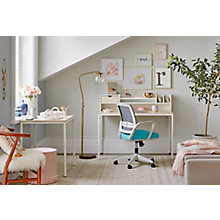 Brite Two Desk, Hutch, Mesh Chair Home Office Set, 8828173