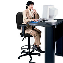 High Back Fabric Ergonomic Drafting Stool, OFM-125-DK