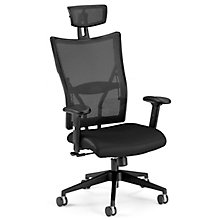 Mesh High-Back Executive Chair with Leather Seat, OFM-590-L