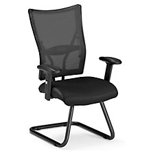 Mesh Back Guest Chair with Leather Seat, OFM-595-L