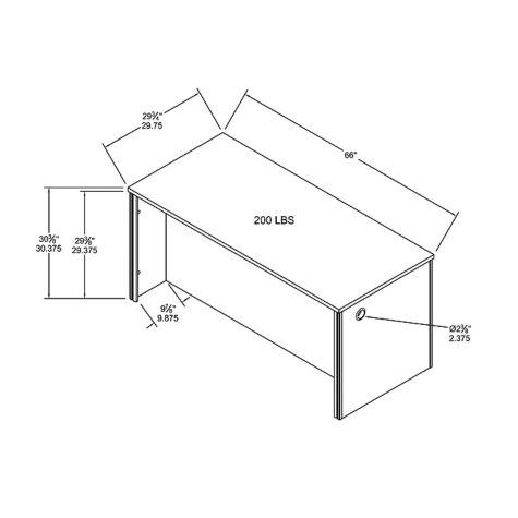 Desk overall dimensions