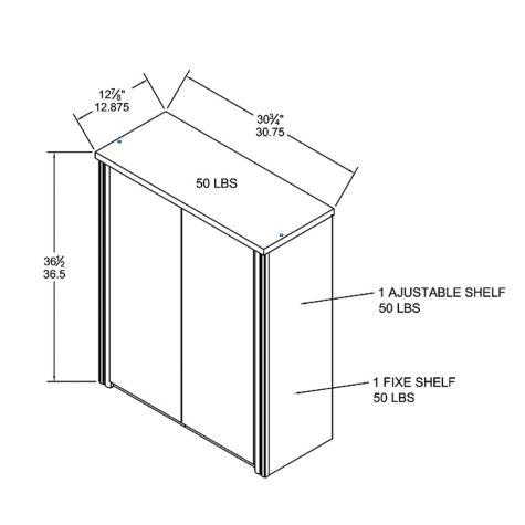 2-Door Cabinet overall dimensions