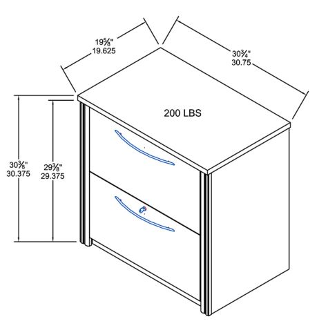 Lateral file overall dimensions