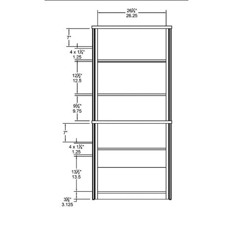 Bookcase interior dimensions