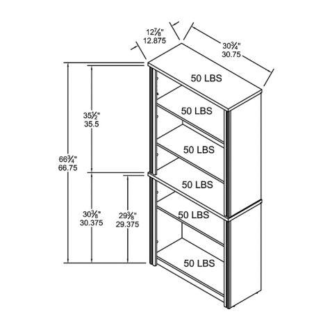 Bookcase overall dimensions
