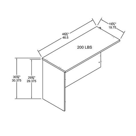 Desk return dimensions