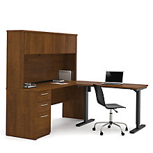 Reversible L-Desk with Adjustable Height Return and Hutch, 8813556