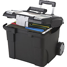 "Portable Letter-Sized File Box on Wheels - 16""W, 8823864"