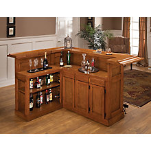 Large Oak Bar with Side Bar, 8817203