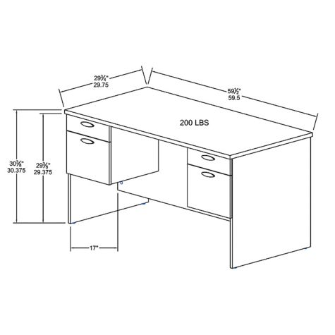 Executive desk overall dimensions