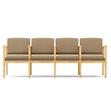 Amherst Four Seat Vinyl Sofa with Center Arms, LES-K4403G5V