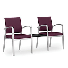 Newport Double Guest Chair with Center Table in Solid Fabric, 8802998