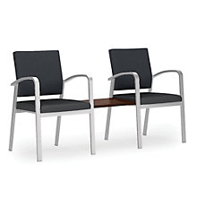 Newport Double Guest Chair with Center Table in Fabric and Vinyl, 8802999