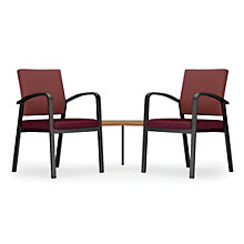 Newport Double Guest Chair with Corner Table in Fabric and Vinyl, 8803001