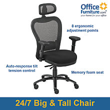 Mesh Chair with Headrest and Fabric Seat , 8801906