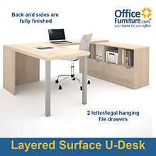 "i3 Solid U-Shaped Desk With File Storage - 88.5""W, 8802203"