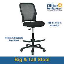 Space Big & Tall Mesh Back Drafting Chair in Fabric, 8802383