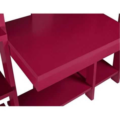Top of writing desk shown in red finish