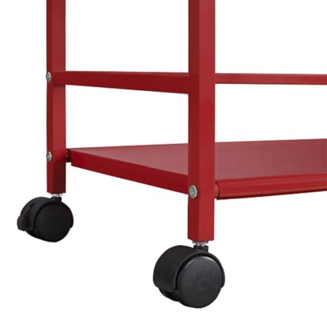 Casters shown in red finish