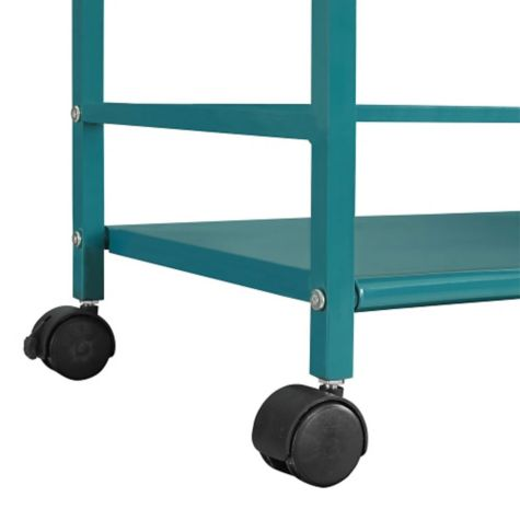 Casters shown with teal finish