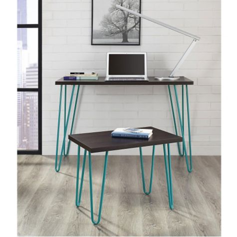 Espresso finish with teal legs in room scene
