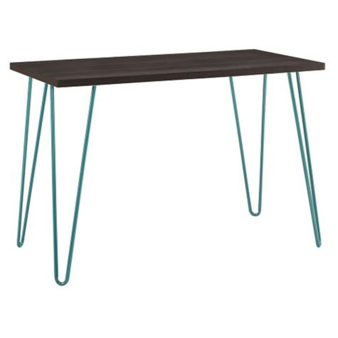 Profile view in espresso finish with teal legs