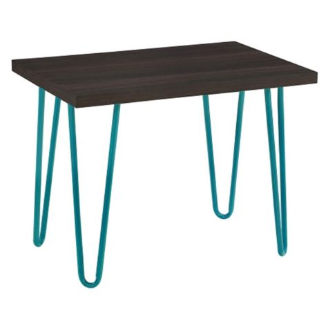Profile view of espresso finish with teal legs