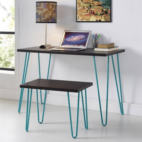 Espresso finish with teal legs shown in room scene