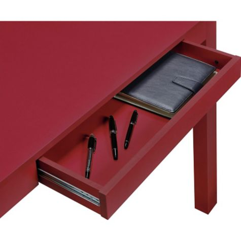 Red finish shown with center drawer opened