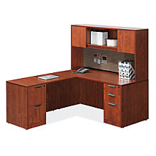 Corner Dual Pedestal L-Desk with Laminate Door Hutch, 8826731