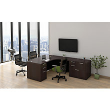 Max Storage Right Return L-Desk with Rectangular Pulls