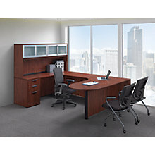 Peninsula Collaboration U Desk With Sliding Gl Door Hutch 8826735