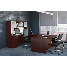 Bow Front Conference U-Desk with Glass Door Hutch, 8826738