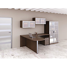 Peninsula L-Desk with Storage and Wall Mounted Cabinets, 8826739